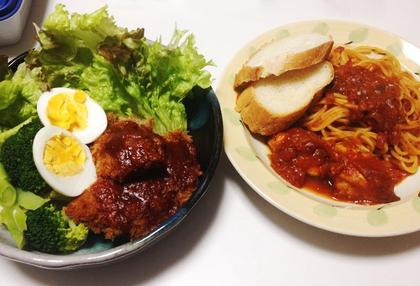 チキンのトマト煮のパスタ.JPG